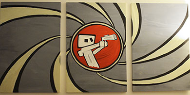 triptych painting of a robot in an aperature holding a blaster james bond style