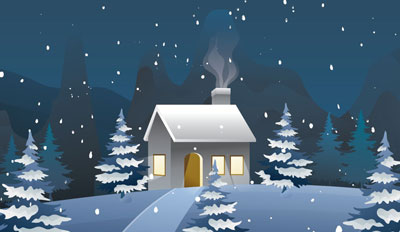 image of house in snowy night